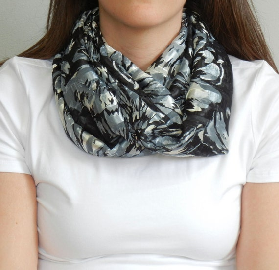 SALE // Black, Blue, and Cream Floral Infinity Scarf
