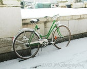 Winter bike, Switzerland, 5x7 print  (Holiday gift, Christmas present, gifts under 25, wall picture, kids room decor)