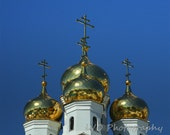 Golden Domes 3, Russia, 8x10 print  (Holiday gift, Christmas present, gifts under 50, wall picture, home decor)