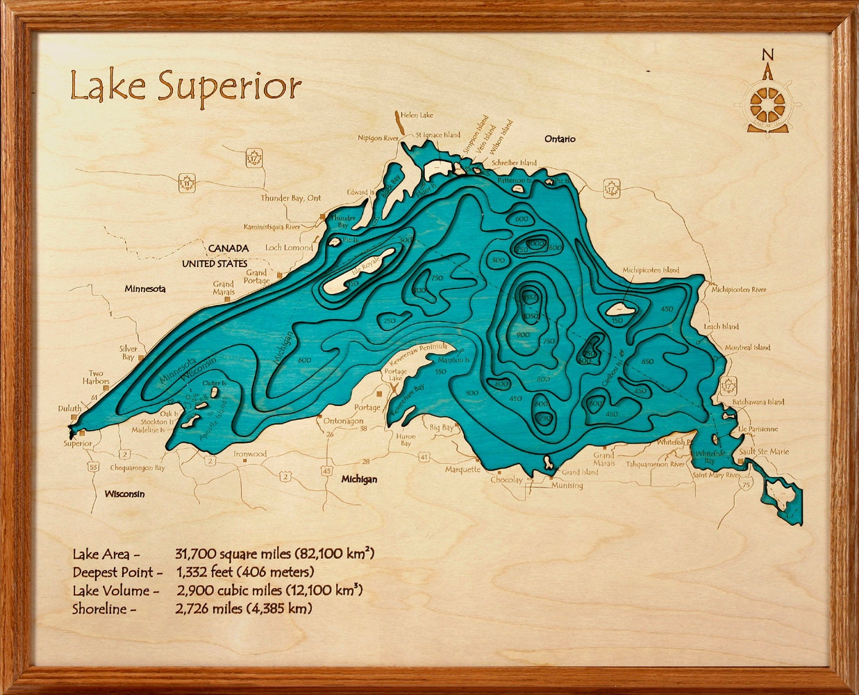 Framed Nautical Chart Lake Superior Collection: 24x30 3-D Wall Art by ...