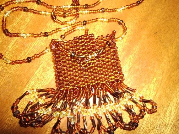 original seed beaded amulet bag / medicine bag pouch