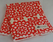 Baby Blanket- Amy Butler Red Lotus Flower Organic Flannel- Buy One Give One