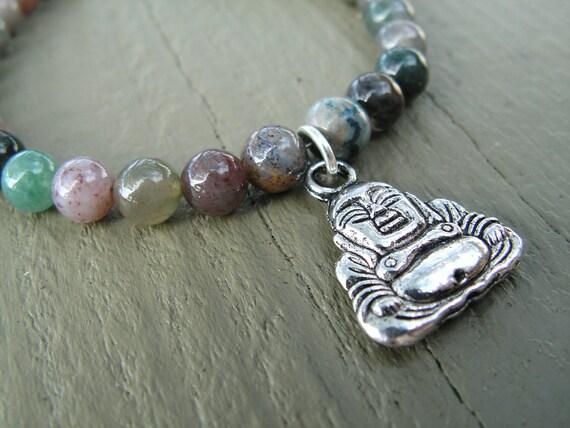 Buddha Bracelet, Jewelry, Bracelet, Silver Buddha, Jasper Bracelet, Valentine Gift, Spiritual Jewelry