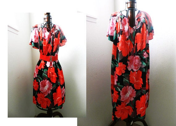 Vintage 70's ROSE NIGHT GOWN - Pleated Neckline, Dress, Lounge Wear, Beach Cover, Size Large / xl