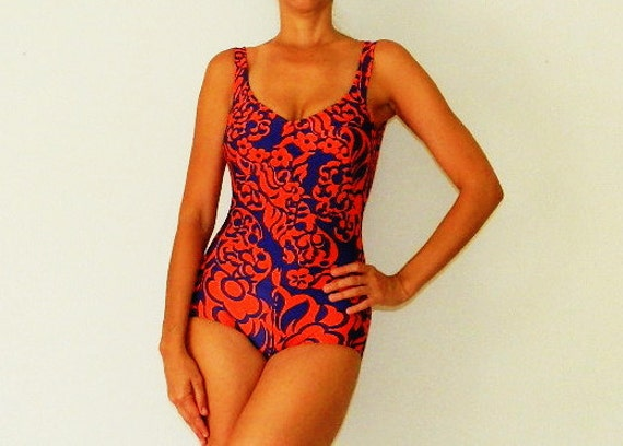 60's ONE PIECE SWIMSUIT - Pin Up / Peter Pan / Made in Italy / Excellent Cond / Size S / M
