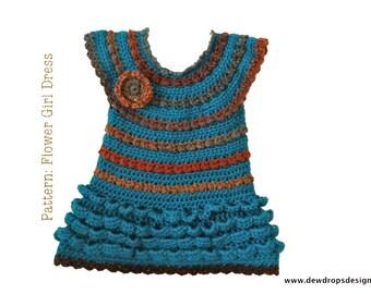 Pattern Crochet Ruffle Dress Headband Flower Girl baby Toddler Easy Beginner Pictures Dewdrops No: 220