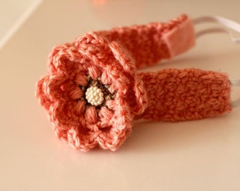Pattern: Crochet Headband with Flower Newborn to Adult Sizes, baby, infant, photoprop easy pattern