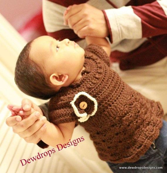Pattern Crochet Dress Top Flower Newborn Baby Toddler Easy Beginner Seamless Classic Dewdrops No: 217