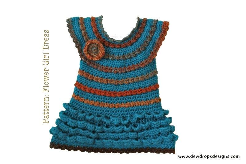 Crochet Pattern For Flower Girl Dress : Pattern Crochet Ruffle Dress Headband Flower Girl baby Toddler