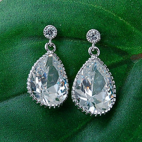 Silver Cubic Zirconia Pear Drop Earrings - Wedding Jewelry, Bridesmaid Gift, or Special Occasion Jewelry