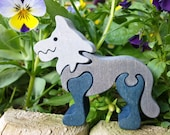 Wolf-Montessori - Waldorf wooden puzzle, made by hand of maple wood,no harmful colors and no lacquer
