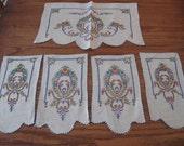 5 Vintage Embroidered Linen Dresser Doilies, Victorian Floral