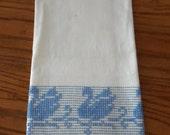 Vintage Swedish Huck Weaving Hardanger Huckabuck Guest/Hand Towel, Blue Swans