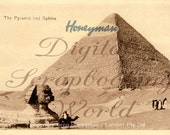 Old Egyptian postcard for digital download -  The Pyramid and Sphinx C1918