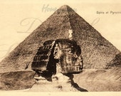 Old Egyptian postcard for digital download -  Sphinx et Pyramide C1918