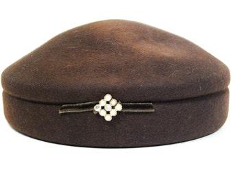 1950s Wool Felt Chocolate Hat, Glenover, Henry Pollak