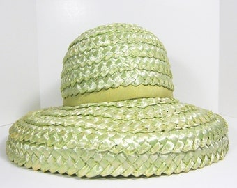 Vintage Pastel Green Straw Hat With Matching Grosgrain Ribbon, Lynne Brooke Hats
