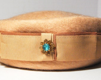 Vintage Tan Wool Pillbox Hat with Dual-tone Ribbon and Flower Rhinestone, Terry Sales Corp., NY