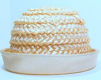Vintage Cream Straw Hat with Upturned Brim, Union Made