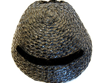 Vintage Black Straw Clam-Style Hat with Velour Accents, Betmar