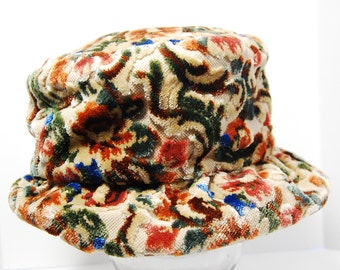 Vintage Floral Tapestry Hat, Union Made