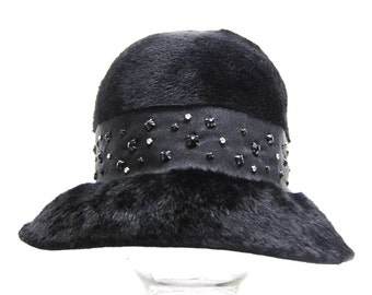 1960s Black Brushed Fur Felt Hat with Onyx and Diamond Rhinestones on Ribbon, Quaker Maid, Body Made by Martelle in West Germany