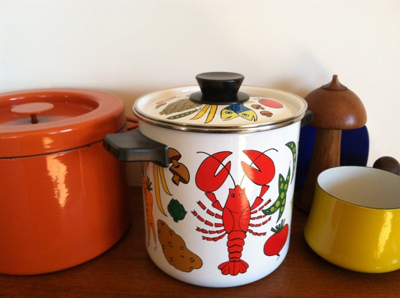San Ignacio Enamel Stock Pot Fish Vegetables Spain
