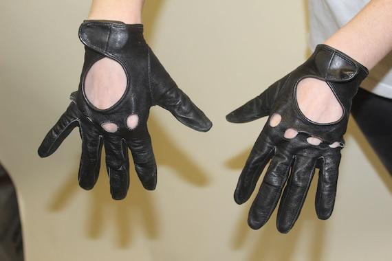 Black Biker Gloves Soft Leather Large
