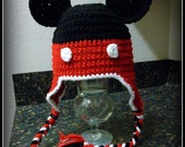 Mickey inspired crochet hat / beanie Red Black & White (mouse, buttons, new born, baby, infant, toddler, child, teen, adult boy ears)