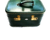 Luggage Emerald Green Leather Train Case by Belber Vintage Mid Century Collectible
