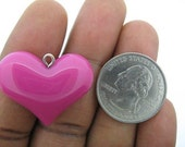 3D Resin Heart Pendants or Charms QTY13