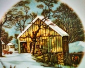 "Vintage Currier & Ives ""Home in The Wilderness ""The Old Homested in Winter"" Currier  Ives Nevco  Winter White Cabin Snow Teal Gold Brown"