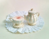 Vintage Tea Pot /Cup Saucer SALT & PEPPER SHAKERS  Shabby Chic  Cottage Pastel Tea Party Shakers Lefton's Pastel Pink Blue Ivory Gold