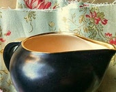 Vintage  Villeroy & Boch Creamer  Black  Tan  Gold Trim Holiday Table Gravy Boat Creamer Modern Traditional