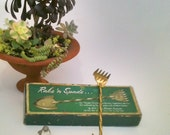 """Vintage Bonsai  Rake and Spade  Tool for Mom the Gardener.  """"The Green Thumb""""  Rake and Spade for Bonsai, Brass Plated, ca 1960"""