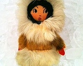 Vintage Eskimo Inuit Doll. Cloth, Felt, Rabbit and Seal Fur Carmel,Tan, Red and Black