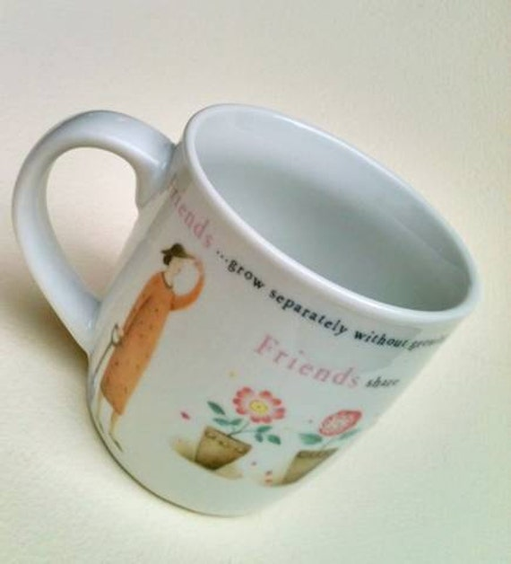 Vintage FRIENDS MUG Judith Glover Spice of Life Coffee Cup  Birthday Gift Planter Pastel Pink Blue Green