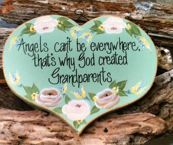 """Vintage Grandparents Shabby Chic Wooden Plaque, """"Angels Can't be Everywhere That's Why God Created Grandparents"""", Sage Green, Mauve"""