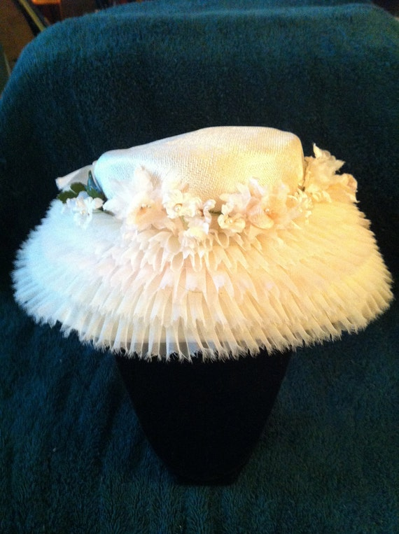 Womens Fancy Straw Hat Tufted Lace Reserved for Ingrid
