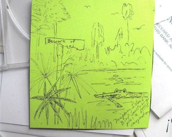 Beware of Alligators Drawing humor magnet