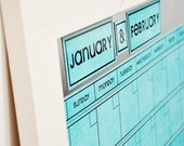 Large Magnetic Dry/Wet Erase Calendar with 6 weeks Showing at All Times. Aqua Calendar Color.  You Choose Frame Color & Font.