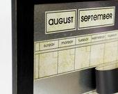 Large Magnetic Dry/Wet Erase Calendar with 6 weeks Showing at All Times. Cream/Green Vintage Calendar Color.  You Choose Frame Color & Font.