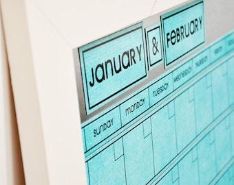 Large AQUA Dry Erase Perpetual Calendar--  You Choose Frame Color & Font.