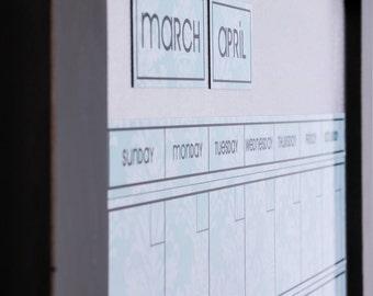 Large LIGHT BLUE DAMASK Dry Erase Perpetual Calendar -- You Choose Frame Color & Font.