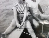 1940's era Vintage Real BW 3 Photos - Classic 40s  - Sail Boat Couple - Man and Woman