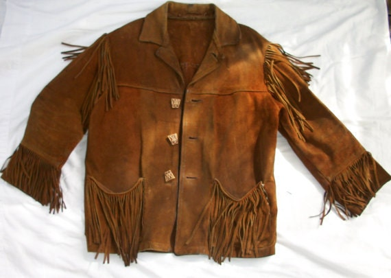 Mens Very Vintage Leather Fringe Jacket Brown Mountain Man