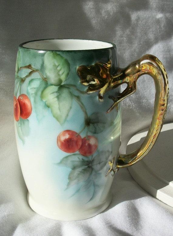 Gold Dragon Handle - J & C Bavaria marked Tankard - Very Vintage - Stein Mug Hand Painted Cherries