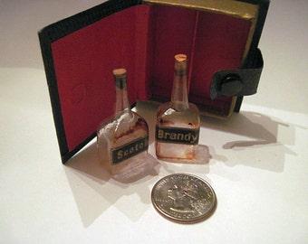 Rare Vintage Fake Book Box - with tiny, miniature liquor bottles