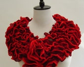 Ruffle Scarf Scarlet Red Retro Chic