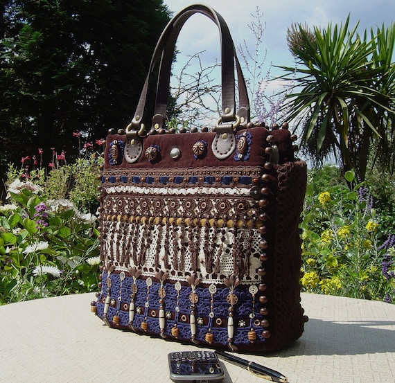 Francine Embroidered Tote Bag in Chocolate Velvet